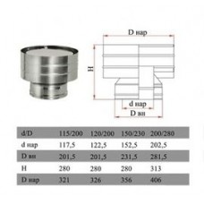 ДЫМОК Дефлектор ДМК на трубу с изол D150/230