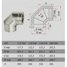 ДЫМОК Отвод ДМК 90 гр с изол D150/230